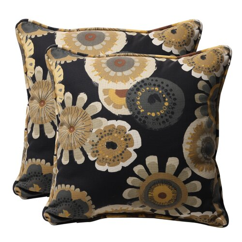 Alsip Outdoor Throw Pillow, Black Yellow Floral