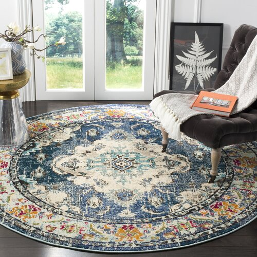 Annabel Power Loom Navy Blue Area Rug Sizes: Round 3', 4'x5'7'', 6'7''x9'2''