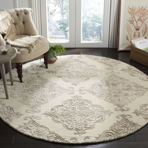Bernon Hand-Tufted Wool Ivory Area Rug 6' round