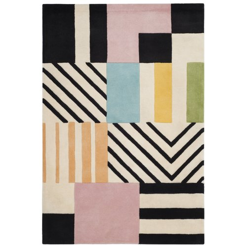 Dominica Hand-Tufted Wool Ivory/Black Area Rug 5' x 8'