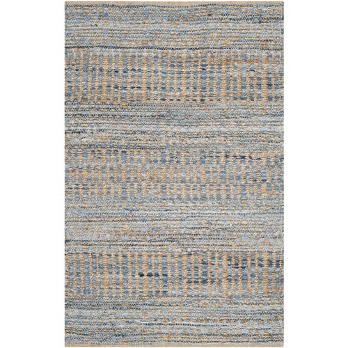 Bernd Hand-Woven Natural/Blue Area Rug
