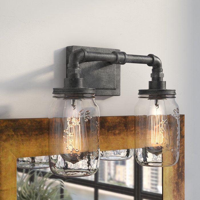 Brys Rustic Black 2-Light Vanity Light
