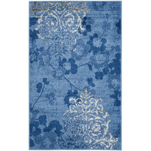Frizzell Power Loomed Light Blue/Dark Blue Area Rug 6' x 9'