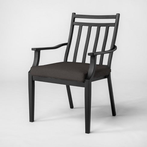 Fairmont Stationary Steel Patio Dining Chair - Charcoal