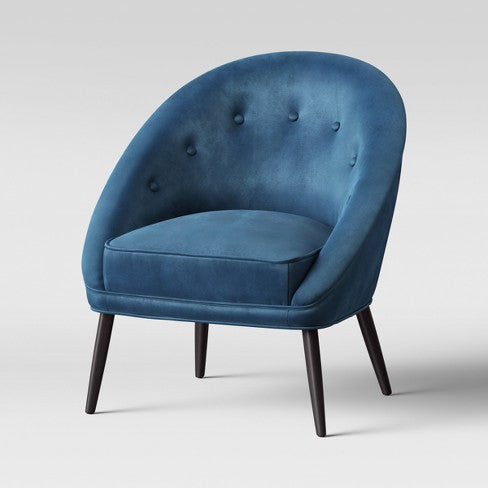 Portia Button Tufted Barrel Chair Velvet Blue - Opalhouse