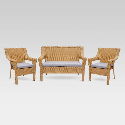 Southcrest 3pc All-Weather Wicker Stacking Patio Set - Tan - Threshold