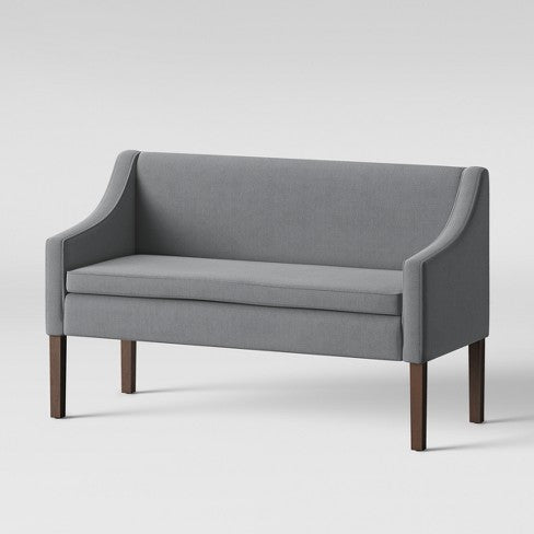 Nashua Settee Bench with Short Back Gray Fabric - Threshold