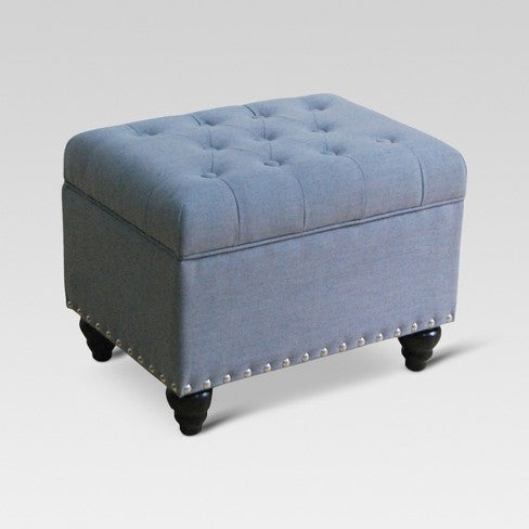 Danbury Tufted Storage Ottoman With Nailheads Gray - Threshold