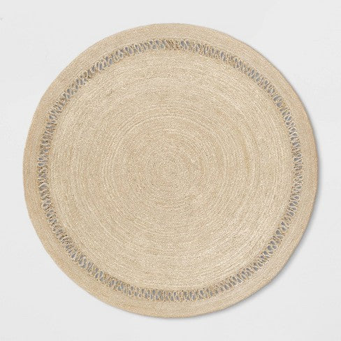 6' Solid Braided Round Area Rug Khaki - Opalhouse