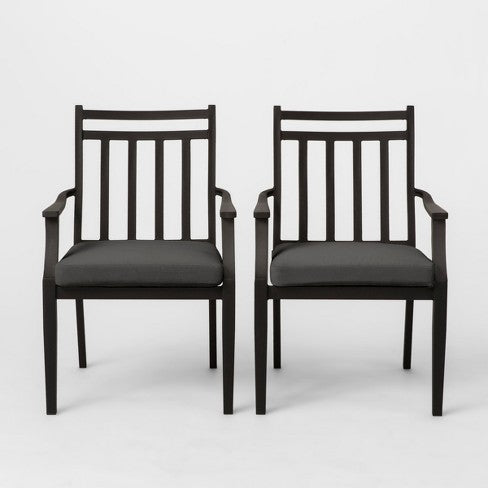 Fairmont 2pk Stationary Patio Dining Chair - Charcoal - Threshold
