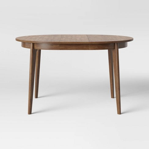 Astrid Mid Century Round Dining Table with Extension Leaf Brown - Project 62