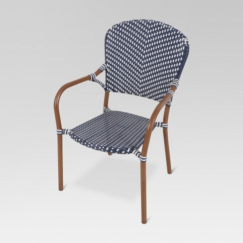 French Caf 4pk Wicker Patio Dining Chair - Navy/White - Threshold