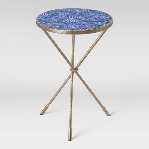 Paeonia Print Glass Top Accent Table with Pewter Finish Base Blue - Opalhouse