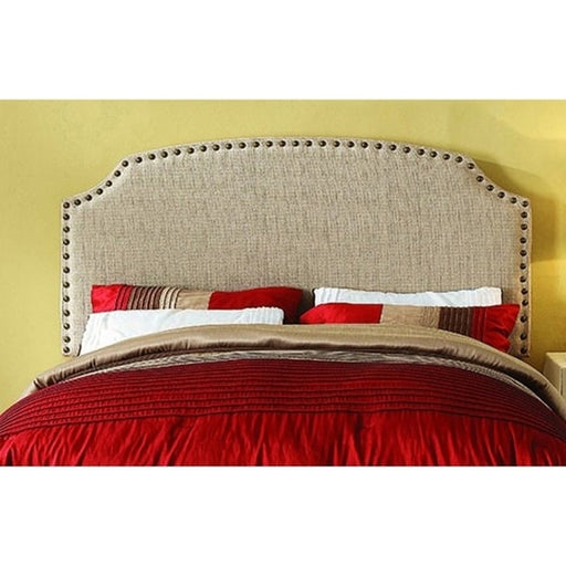 Hasselt Full/Queen Beige Headboard, Upholstered With Nail Head