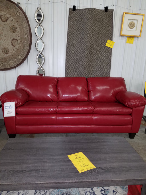 Grady Red Leatherette Sofa And Love Seat Set, Trapped Red
