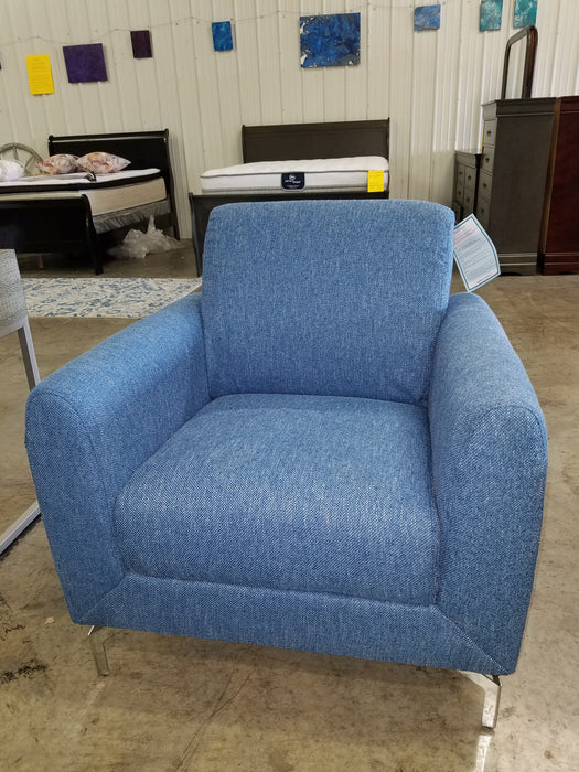 Blue Linen Couch / Loveseat / Chair Set