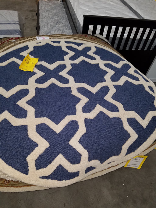 Martins Navy Blue/Ivory Area Rug 4' Round