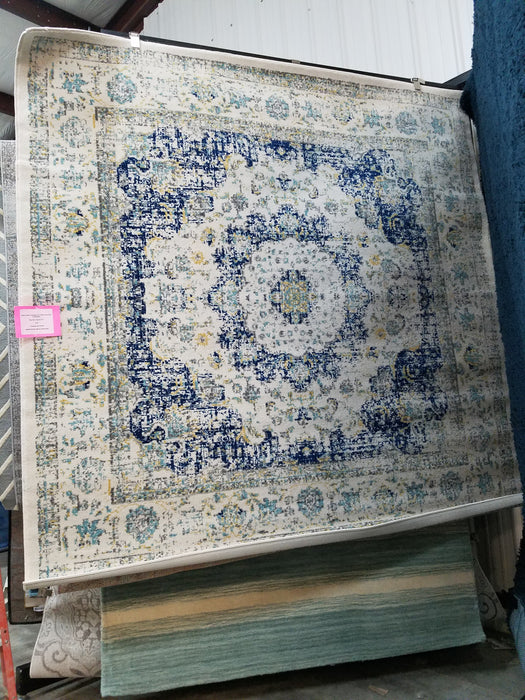 Elson Power Loomed Ivory & Blue Area Rug