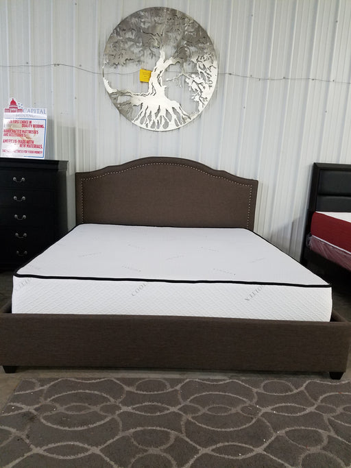 Brown Linen and Nailhead Platform Bed King Size