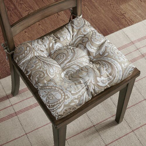 Jacquard Indoor Dining Chair Cushion Fabric: Blue