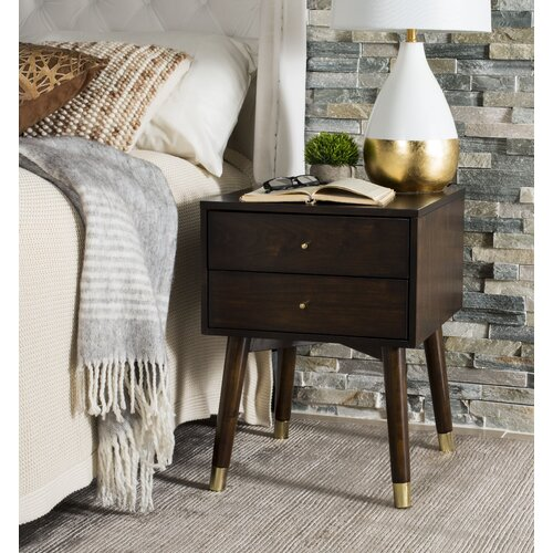Kraemer 2 Drawer Nightstand Color: Walnut/Gold