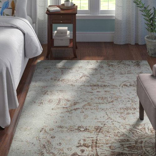 "Armand Gray/Light Brown Area Rug  7'10"" x 10'"