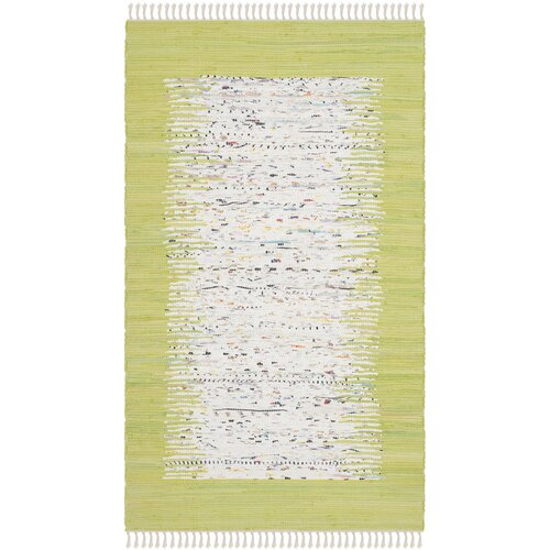 Ona Hand-Woven Cotton Ivory/Lime Area Rug 6' x 9'