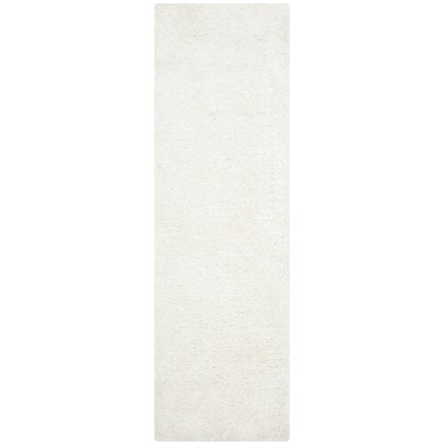 "Maya Snow White Shag Rug  2'3"" x 8'  Runner"