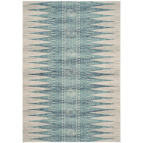 Elson Power Loomed Turquoise/Ivory/Navy Blue Area Rug 9' x 12'