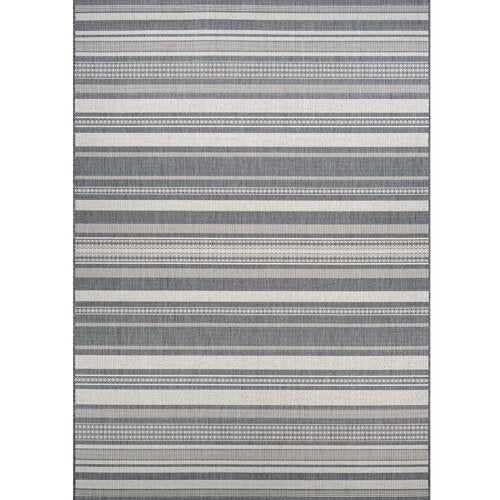 Anguila Stripe Gray Indoor/Outdoor Area Rug 2'3'' x 7'10''