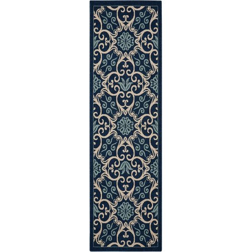 "Liseron Navy Indoor/Outdoor Area Rug 2'3"" x 7'6""  Runner"