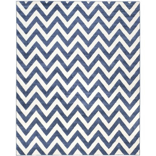 Currey Power Loomed Navy/Beige Indoor/Outdoor Area Rug 7' x 7' Square