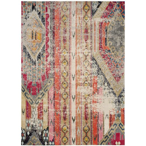 Alfred Abstract Grey/Orange/Pink Area Rug Sizes: 9'x12', 8'x10'