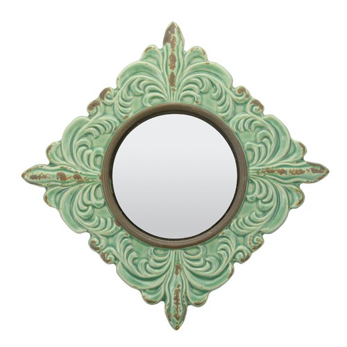 Rashmare Worn Ceramic Distressed Wall Mirror in Turquoise