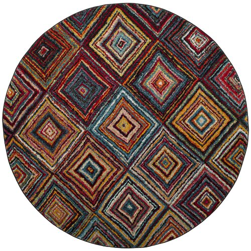 Miley Brown/Red Area Rug 6'7'' Round
