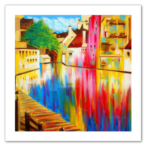 River Through Treviso by Susi Franco Painting Print on Rolled Canvas