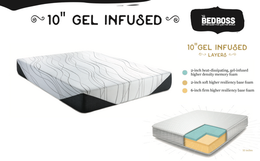 "10"" Gel Infused Mattress by The Bed Boss"