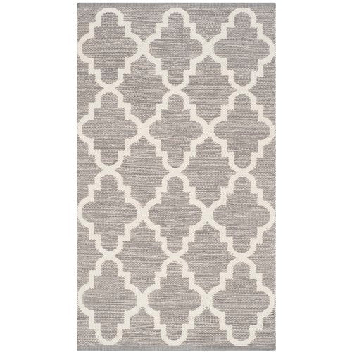 Valley Hand-Woven Cotton Gray/White Area Rug 11' x 15'