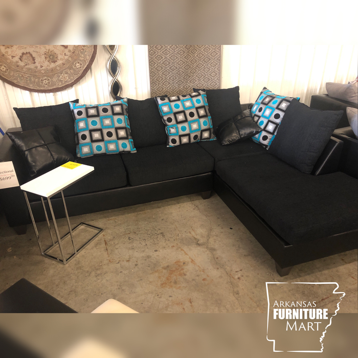 Anderson Sectional Black & Turquoise - @ARFurnitureMart