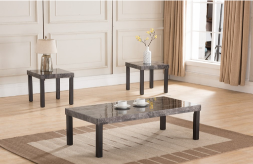 Expresso Faux Marble 3 Piece Coffee Table Set