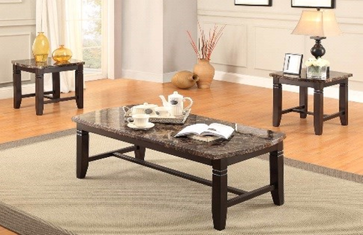 Brown Faux Marble 3 piece Coffee Table Set