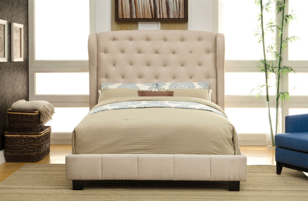 Fontes Ivory Upholstered Button Tufted Bed
