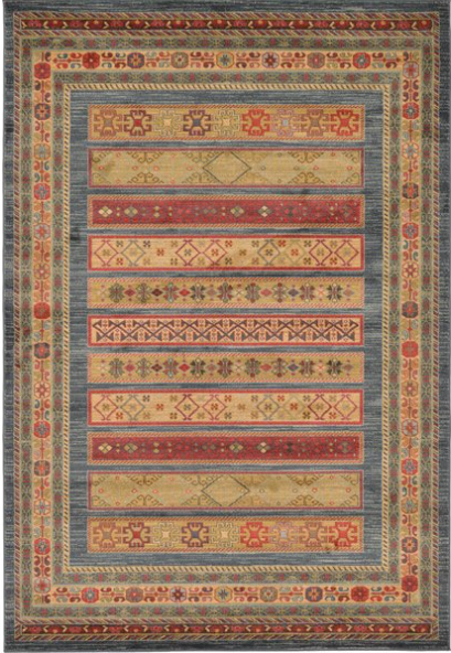 "Foret Noire Machine Woven Blue Area Rug - Size: Rectangle 2'2"" x 3'"