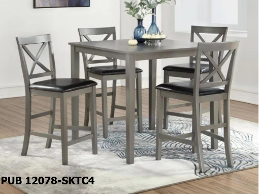 Gray Pub Table W/ 4 Chairs