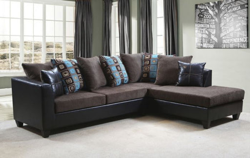 Anderson Sectional In Brown With Turquoise Aqual/Teal Accent Pillows