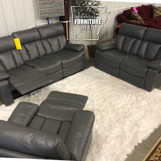 Gray Reclining Sofa and Love Seat Set
