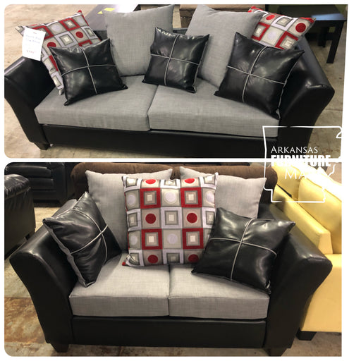 Anderson Sofa And Loveseat Set In Gray And Black With Black And Red Accent Pillows