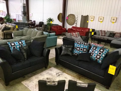 Anderson Sofa and Loveseat Set in Black with Turquoise Teal Blue Accent Pillows