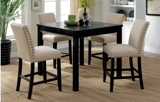 Kristie Black Pub Table With 4 Chairs