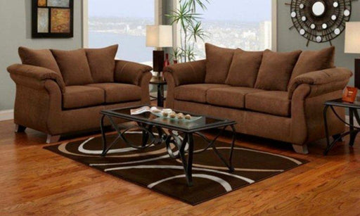 Sensations Microfiber Sofa and Loveseat, Brown - @ARFurnitureMart